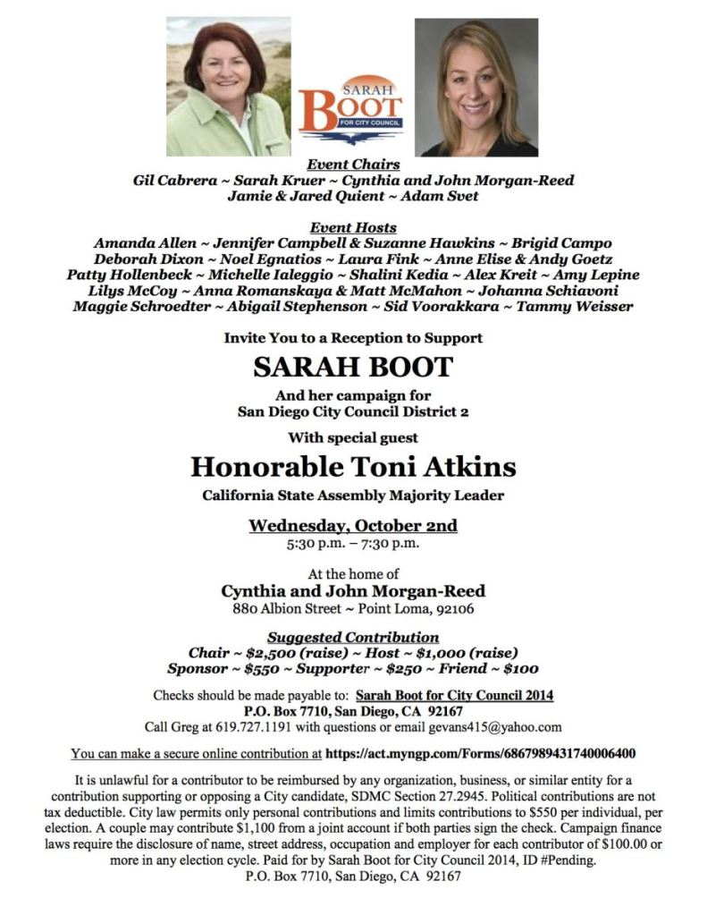 Sarah Boot Oct 2 Invite!