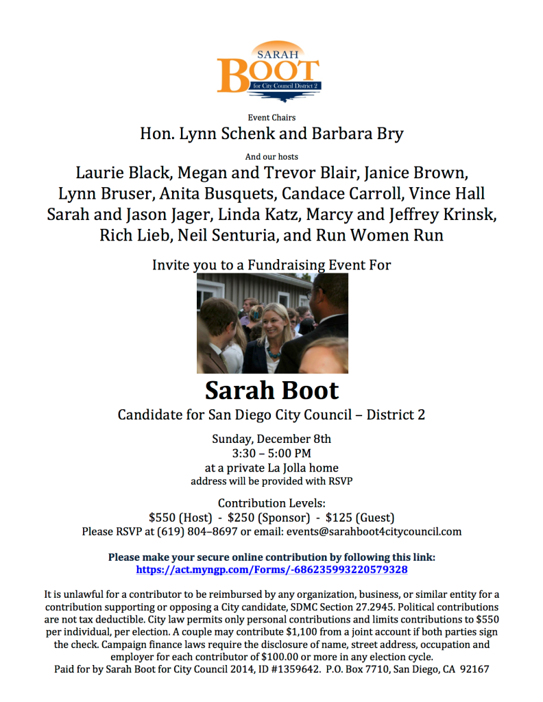 Sarah Boot Dec 8 invite