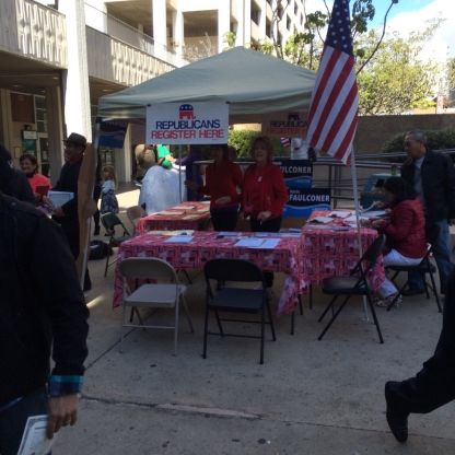 The republican sign up tables were not so well attended