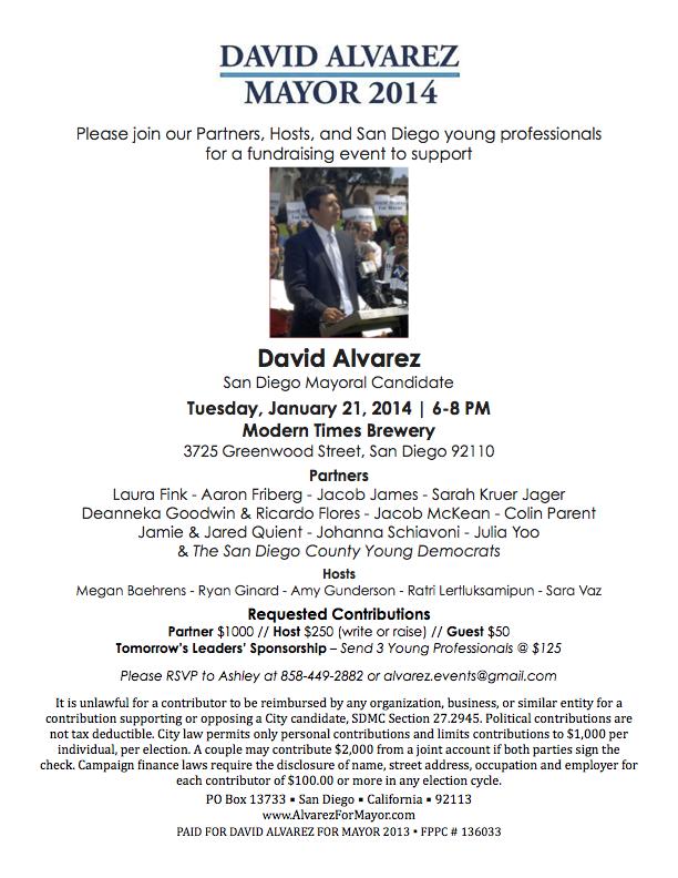 David Alvarez for Mayor - January 21 - Modern Times Brewery