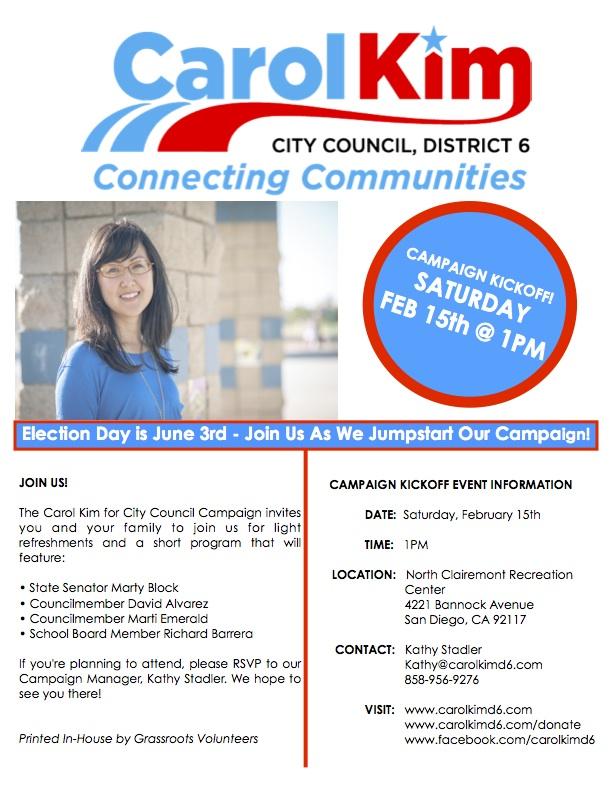 Feb 15 Saturday Carol Kim For City Council Campaign