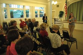 Gretchen Kinney Newsom addresses the club