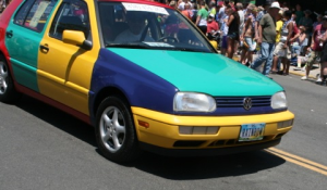 Club member Howard G Singer's Volkswagen Harlequin at 2013 Pride