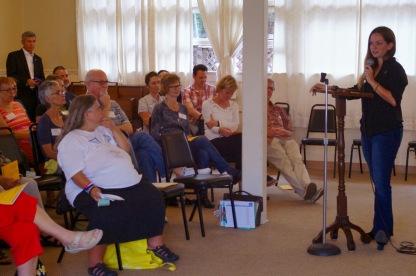 Gretchen Newsom addressing club members